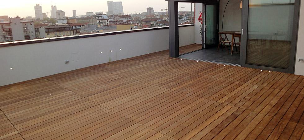 Realizzazioni > Esempi di pavimenti e altri lavori in legno realizzati in esterno.